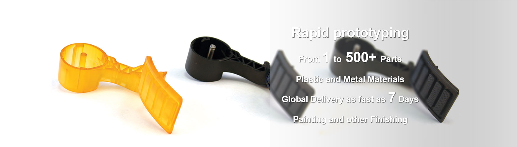 Rapid prototyping From 1 to 500+ Parts Plastic and Metal Materials Global Delivery as fast as 7 Days
